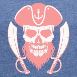 PIRATE DEAD HEAD - Women's T-shirt with rolled up sleeves