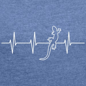 My heart beats for reptiles - Women's T-shirt with rolled up sleeves