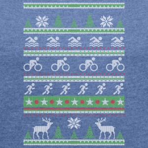 Triathlon Ugly Christmas - Women's T-shirt with rolled up sleeves