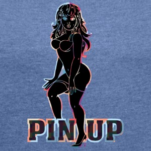 surprised naked pinup girl black - Women's T-shirt with rolled up sleeves