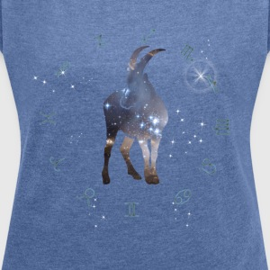 capricorn universe constellation astrology sternzeic - Women's T-shirt with rolled up sleeves