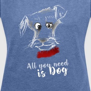 dog dog terrier drawing pointing - Women's T-shirt with rolled up sleeves