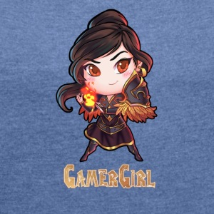 GamerGirl2000pixel - Women's T-shirt with rolled up sleeves