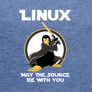 may_the_linux_source - Dame T-shirt med rulleærmer