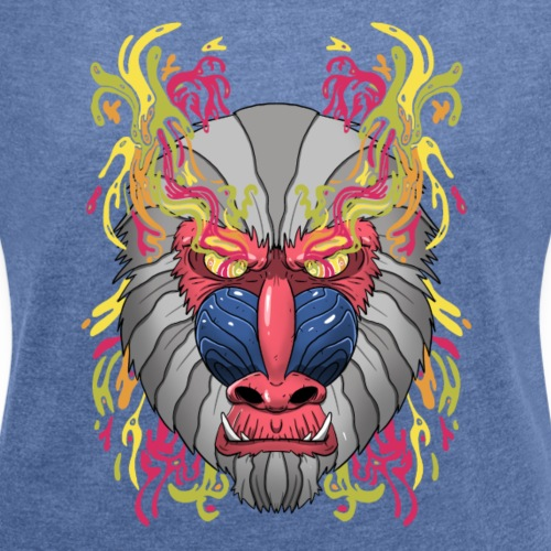 Psychedelic Mandrill - T-shirt à manches retroussées Femme
