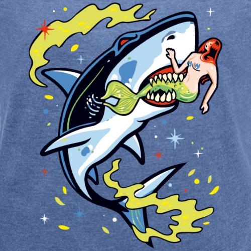 Requin mangeur de sirène - T-shirt à manches retroussées Femme