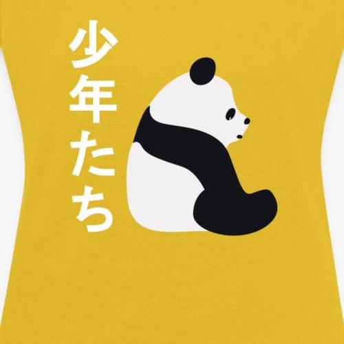 Panda auf Chinesischer Schrift - Frauen T-Shirt mit gerollten Ärmeln