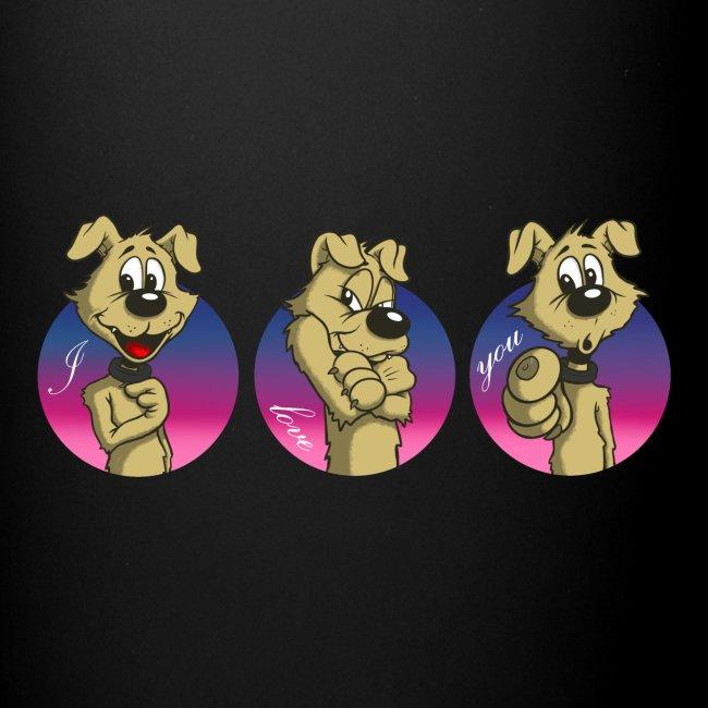 """Comic Hund in Gebärdensprache """"I love you"""""""