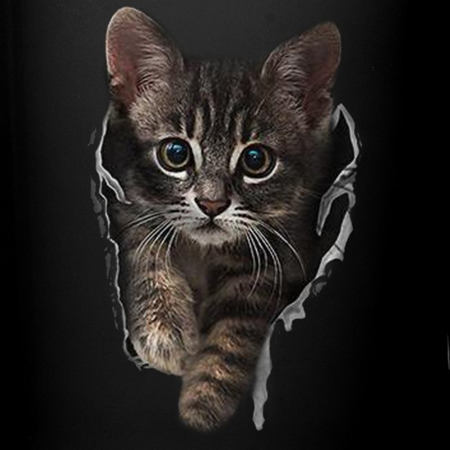 Vorschau: Katze Riss - Tasse einfarbig