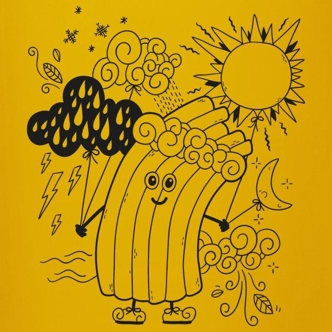 Rudi Regenbogen Wetter-Motiv zum Ausmalen