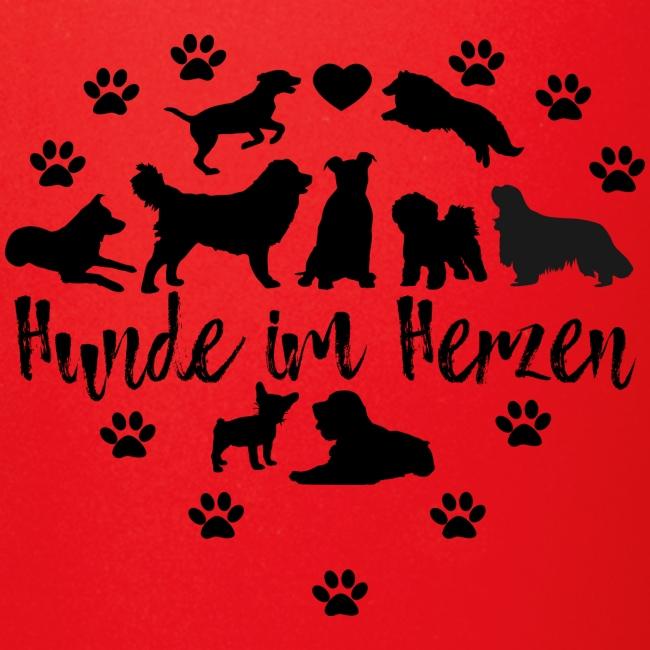 Hunde im Herzen T-Shirt Hundeliebe Hunderassen