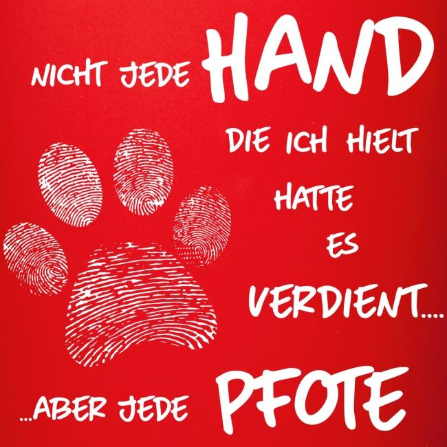 Vorschau: Hand Pfote Hund - Tasse einfarbig