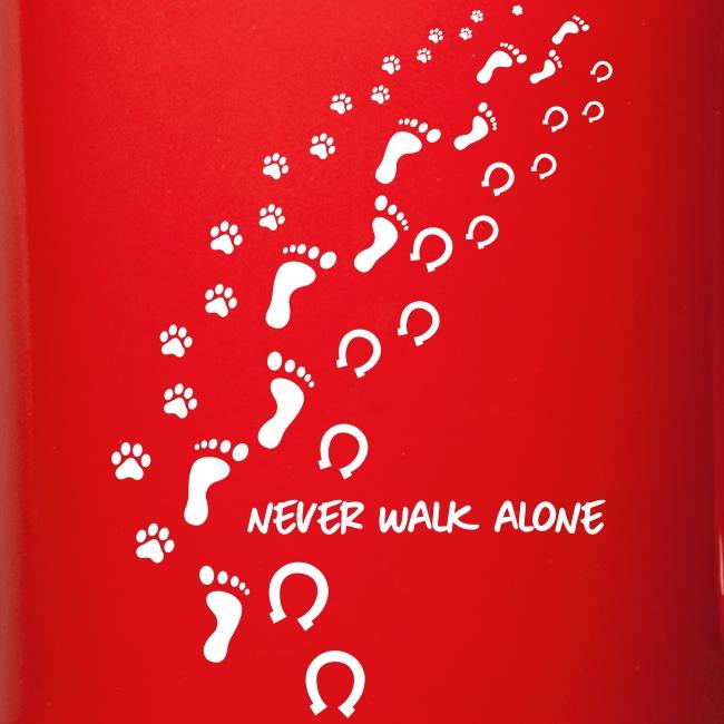 Vorschau: never walk alone hund pferd - Tasse einfarbig