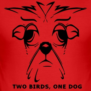 TWO BIRDS, ONE DOG - Men's Slim Fit T-Shirt