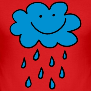 Funny cloud with raindrops, weather, spring, water - Men's Slim Fit T-Shirt