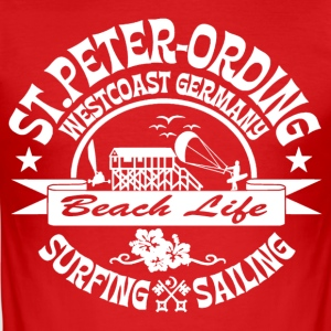 Ording Beach Logo - Männer Slim Fit T-Shirt