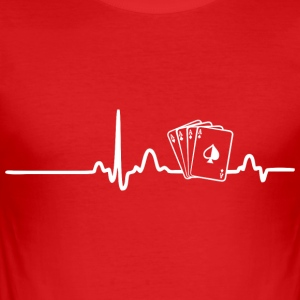 EKG HEART LINE pokerspelare vit - Slim Fit T-shirt herr