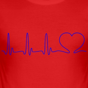 EKG HEART LINE Heart Love blå - Slim Fit T-shirt herr