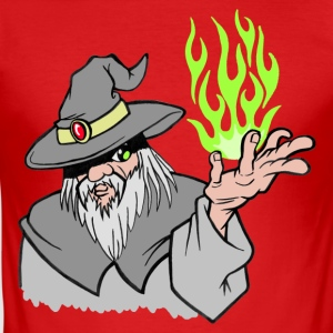 Willpower Wizard Grey/Green Flame - No Text - slim fit T-shirt