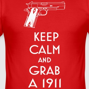 1911 fan t-shirt keep calm preppers shooters - Men's Slim Fit T-Shirt