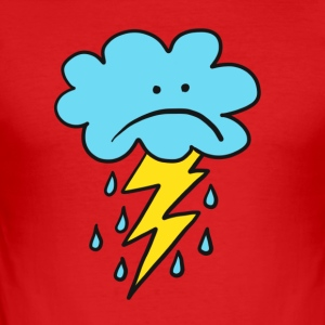 Angry Cloud, flash, raindrop, weather, funny, rain - Men's Slim Fit T-Shirt