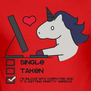 Unicorn: Unicorn Single, Taken or in Love with ... - Men's Slim Fit T-Shirt