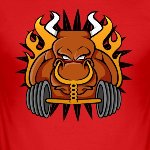 Gym Workout T-shirt Angry Testosterone Bull - Men's Slim Fit T-Shirt