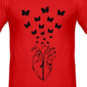 HEART BUTTERFLY - Männer Slim Fit T-Shirt