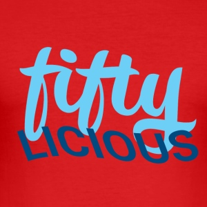 50th birthday: fiftylicious - Men's Slim Fit T-Shirt