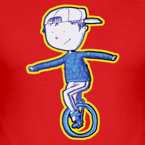 Unicycle boy - yellow blue - slim fit T-shirt