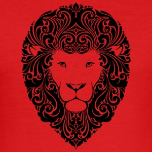 lion with ornament hairs 2 black - Men's Slim Fit T-Shirt