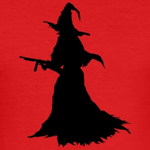 Witch with Assault Rifle / AK for Halloween - Men's Slim Fit T-Shirt