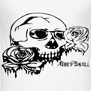 grå Skull - Slim Fit T-skjorte for menn