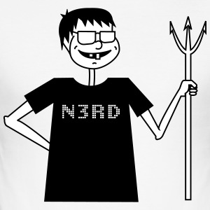 Evil Nerd - Männer Slim Fit T-Shirt
