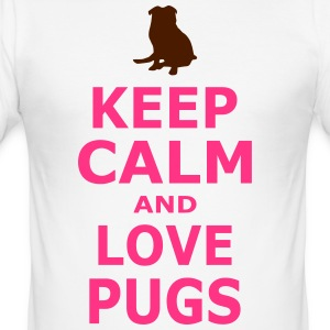 KEEP CALM AND LOVE PUGS - SIMPLE - Men's Slim Fit T-Shirt