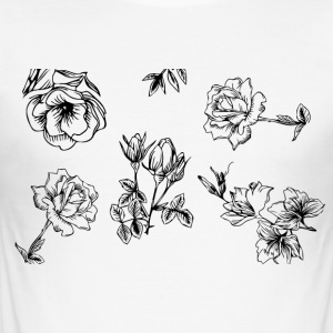 Floral Black and White - Men's Slim Fit T-Shirt