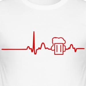 ECG HEART LINE BEER red - Men's Slim Fit T-Shirt