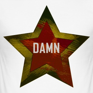 "A star with the word ""DAMN"" red-yellow - Men's Slim Fit T-Shirt"
