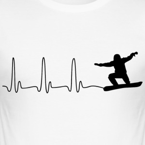 ECG HEART LINE SNOWBOARD black - Men's Slim Fit T-Shirt