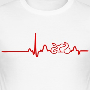 EKG HEART LINE BIKE red - Slim Fit T-shirt herr