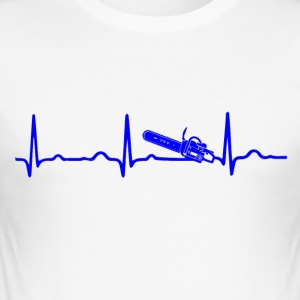 EKG HEARTBEAT Chainsaw blå - Herre Slim Fit T-Shirt