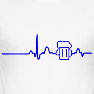 EKG-BEER LINE blå - Slim Fit T-skjorte for menn
