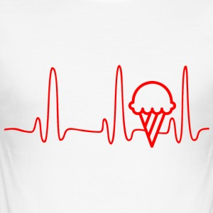 ECG HEART LINE ICE CREAM red - Men's Slim Fit T-Shirt