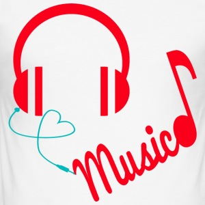 Hodetelefoner - Love Music - Slim Fit T-skjorte for menn