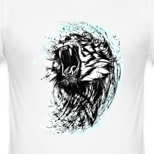 tiger löwe wild biss cool blut king chef strange L - Männer Slim Fit T-Shirt