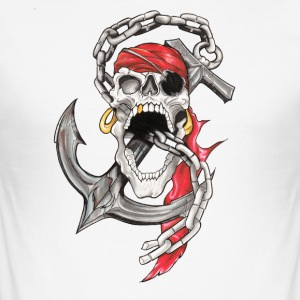 Crane Pirate Tattoo - Men's Slim Fit T-Shirt