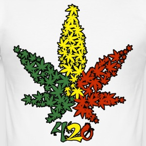 Rasta Leaf 420 - Slim Fit T-shirt herr