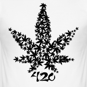 420 blad - Slim Fit T-shirt herr