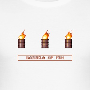 Pixel Flaming explosive Fässer - Männer Slim Fit T-Shirt