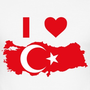 I LOVE TYRKIET - Herre Slim Fit T-Shirt
